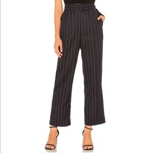 Lovers + Friends Cora Striped Belted Trousers